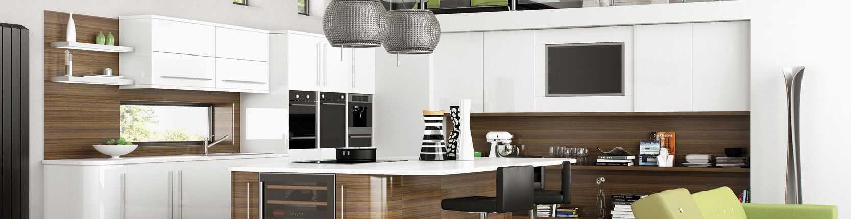 tủ bếp acrylic trắng kết hợp vân gỗ