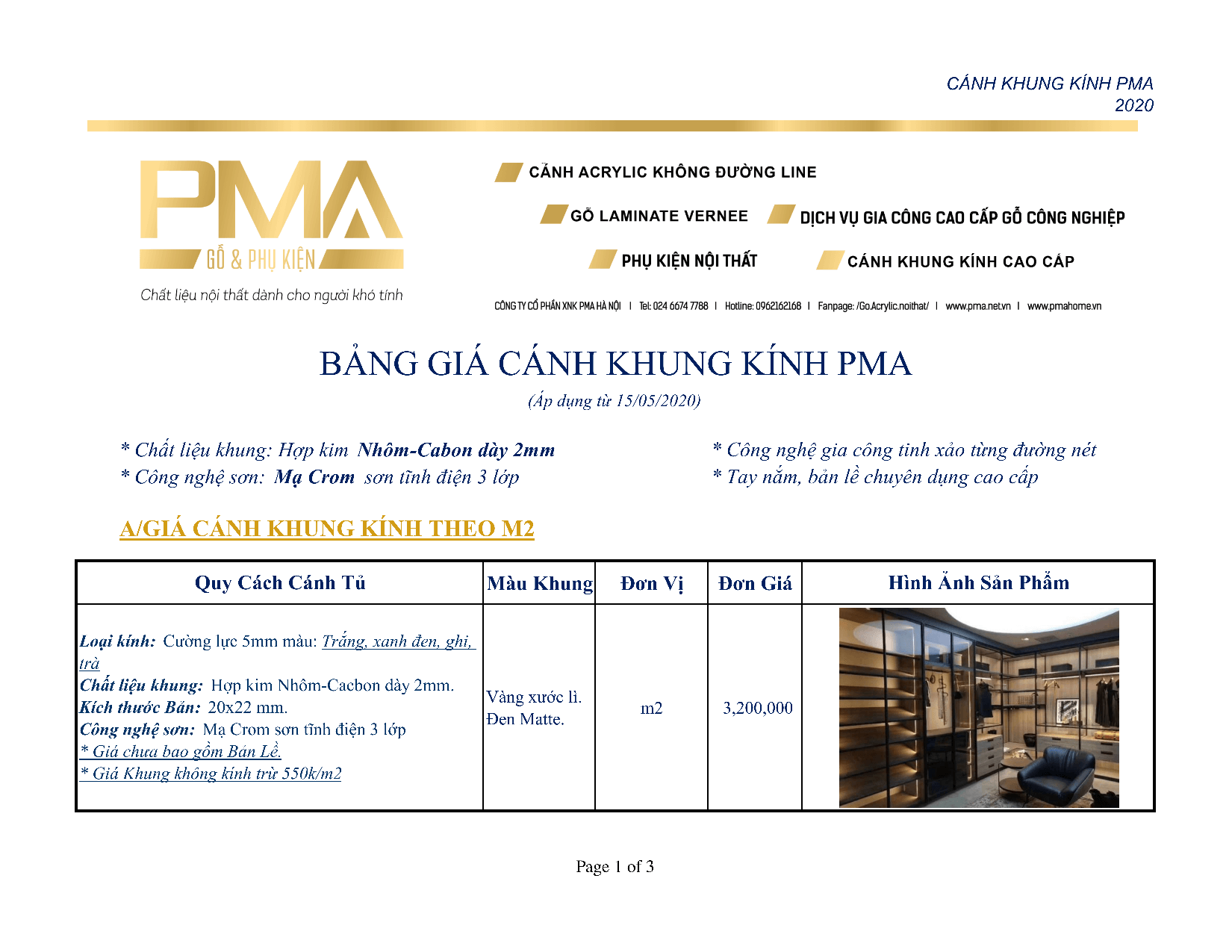 Bảng giá cánh kính tủ áo PMA Lux