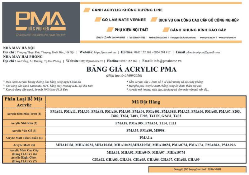 Bảng giá cánh acrylic PMA mới nhất
